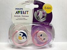 Philips Avent Animals Pacifiers 0-6 Months 2-Pack Cute Animal Faces ~Girls~