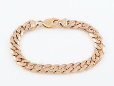 Vintage Solid 9Ct Gold Flat Curb Link Bracelet , 39.1g