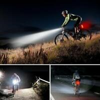 Waterproof MTB Bike USB Recharge Front Handlebar Light +Rear Tail Lights Warning