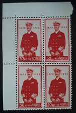 1952 Norway block of 4 x 30 ore red 80th Anniversary of the Birth of King Haakon