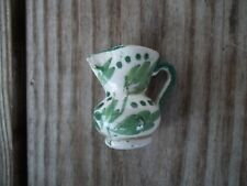 Vintage Italy Miniature Pitcher Jug White Green Floral Leaves 1-5/8 inch Urn