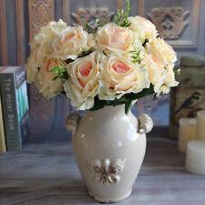 Wedding Champagne 9 Rose Heads Fake Peony Artificial Flower Big Silk Cream