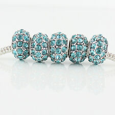 5Pcs 12mm Czech Crystal Silver Big Hole Spacer Charm Beads for European Bracelet