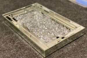 Sparkly Silver Crushed Diamonte Crystal Mirrored Tray Ornament Display Tray