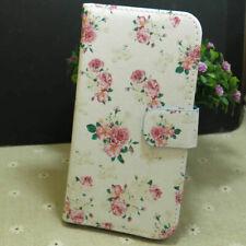 Pretty Rose Flower Wallet Card Slots Holder Flip TPU Case Cover for Smart Phone