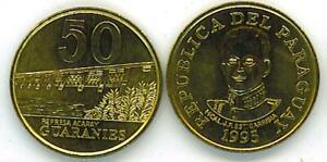 PARAGUAY: 5 PIECE UNCIRCULATED 1980S-90S COIN SET, 1 - 50 GUARANIES