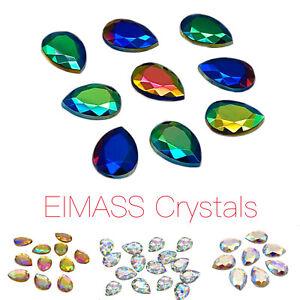 50 x EIMASS® Acrylic Flat Back Teardrop Crystals, Pear Shape Rhinestone, Gems