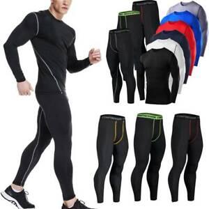 Men Workout Compression Sports Suit Apparel Base Layer Set Long Pants T-shirts