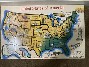 """Melissa & Doug Wooden United States of America Deluxe Map Puzzle 18"""" x 11.5"""""""