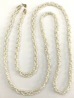Vintage Extra Long Beaded Strand Off White Faux Pearl Twisted Beads Necklace 56""