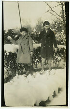 PHOTO ANCIENNE - ENFANT HIVER NEIGE MODE GAG - CHILD WINTER FUN-Vintage Snapshot