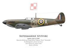 Print Spitfire Mk Ia, F/O Nowierski, No 609 Squadron RAF, 1940 (by G. Marie)