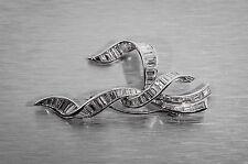 Vintage $8000 4ct Baguette VS F Diamond Platinum BROOCH Ribbon BOW Pin Brooch