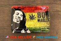 """Bob Marley Metal Rolling Tray Bong RAW Style for Cigarette Rolling papers 7""""x5"""""""