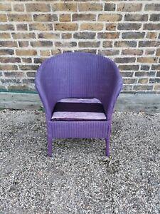 Vintage Original Lloyd Loom Purple Wicker Bedroom Chair Upholstered Upcycled