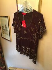 New Aftershock Brown 100% Silk Embroidery, Beads & Sequins Embellished Top,Large