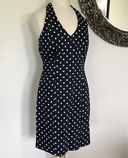 JONES NEW YORK Blue With White Polka Dots Haulter Dress Size 10  NEW - NWT