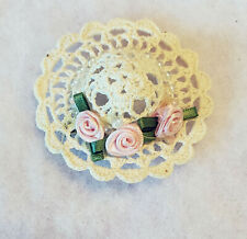 "UNBRANDED - CROCHET SILK ROSE BONNET BROOCH PIN - 2 1/2"" DIA"