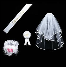 Bride to be Decoration Set for Bachelorette Party Supply(White Double Ribbon...