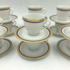 Vintage Scherzer Bavaria Demitasse Set of 12 Cups Saucers Blue Gold Encrusted SH