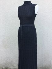 TRUE VINTAGE IAN PETERS BLACK SILVER METALLIC LAME KNITTED MAXI DRESS PARTY M S