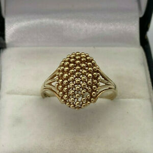 9ct Gold Hallmarked Ladies Dome Style Dress Ring.  Goldmine Jewellers.