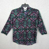 Van Heusen Womens Tunic Top Multi Color Print Polyester Size Medium