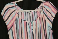 Lauren Conrad Dress Size XL Pockets Striped Summer pink blue gray