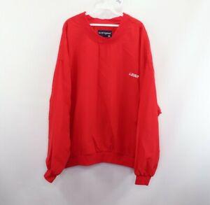 Vintage 80s Streetwear Mens 2XL XXL Lear Jet Stitched Windbreaker Jacket Red