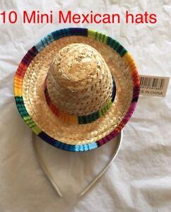 10 Mini SOMBRERO HATS on Headband Mexican Spanish Fiesta Party Costume BULK