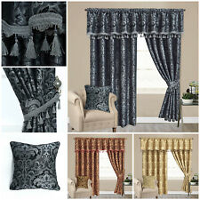 Luxury Ready Made Fully Lined Pencil Pleat Pair of Pelmet Curtains With Tiebacks