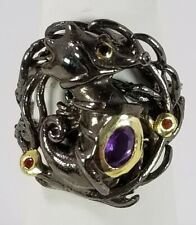 Ladies HANDMADE Seahorse Natural Amethyst 925 Sterling Silver Ring Size 8.25