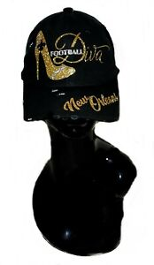 New Orleans Football Diva  Black Fitted Adj. Cap ~ Shiny Lettering & Crystals.