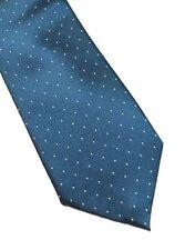 Mens Express Neck Tie Slim Skinny 100% Silk Blue Navy Dark Teal Narrow New