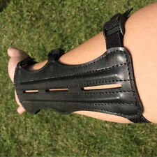 Magideal Cow Leather Shooting Archery Arm Guard Bow Protect 3 Straps Black New O