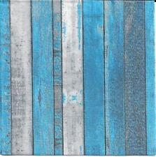 2 Serviettes en papier Décor Bois Decoupage Paper Napkins Whitewash blue