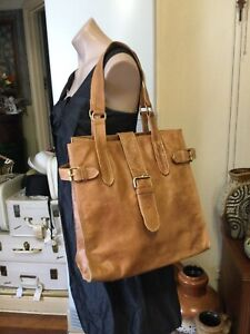 Beautiful Honey Brown Leather TOMMY Oversized Tote shoulder Bag Magnetic Clip