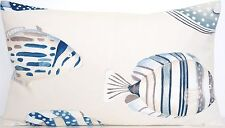 Copacabana Cushion Cover Blue Fish Printed Pillow Case Cotton Fabric Beige White