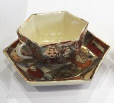 Antico Satsuma tazza e piattini-HEXAGON a forma di