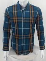 Burberry Brit Men's Check Shirt Size L Button Up Green Long Sleeve