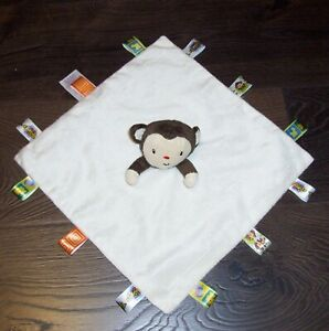 Taggies Cream Monkey Baby Blanket Satin Back Tag Security Lovey Toy
