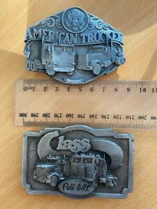 Trucking theme belt buckles x 2