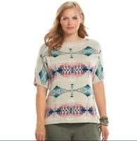 Chaps Tribal Dolman Short Sleeved Sweater Womens Plus 1X-2X-3X