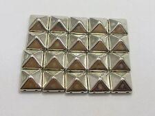 500 Silver Tone Metallic Rock Punk Square Pyramid Rivet Acrylic Studs Beads 10mm