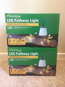 Malibu LED Metal Pewter Pathway Lights Low Voltage Landscape 8423-3105-01 2-PACK
