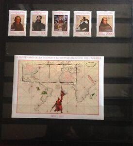 """Foglietto + 5 francobolli nuovi Vaticano """"Scoperta dell'America"""" 1992 serie cpl"""