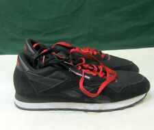 Reebok Classic CL Nylon 1 V57260  BLACK SUEDE  RED  MEN Size 10.5 -10