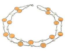 Stainless Steel Orange Color Glass Necklace - Single / Double