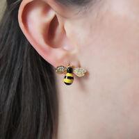 Honeybee Daisy Flower Enamel Earrings Studs Beekeeper Gold plated Bumblebee