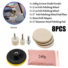 8Pcs 240g Cerium Oxide Powder Glass Scratch Remover Polishing Kit Wheel 3'' Pad